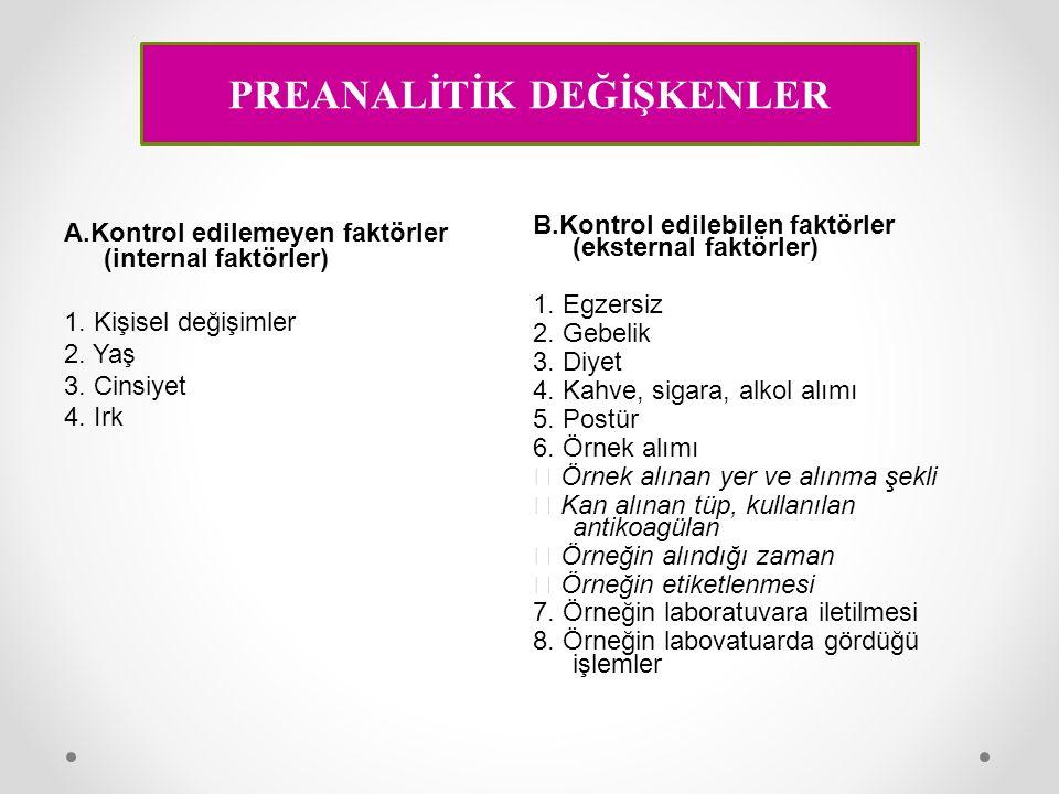 A.Kontrol edilemeyen faktörler (internal faktörler) 1. Kişisel değişimler 2. Yaş 3. Cinsiyet 4. Irk B.Kontrol edilebilen faktörler (eksternal faktörle
