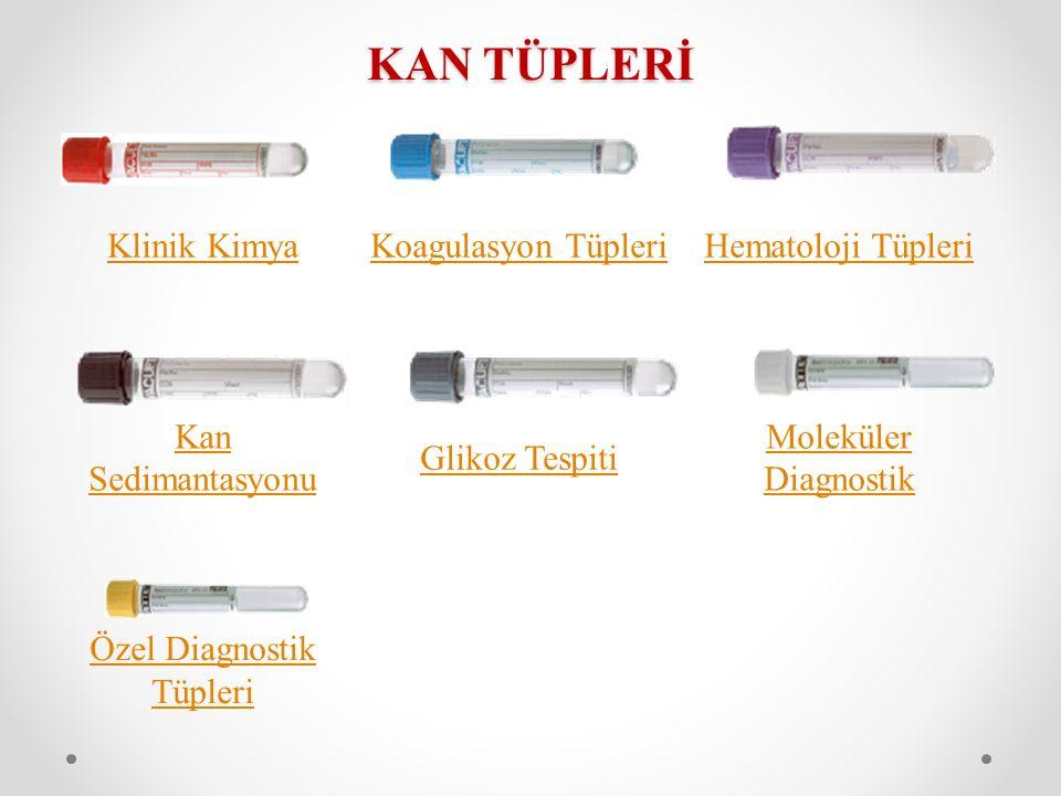 KAN TÜPLERİ Klinik KimyaKoagulasyon TüpleriHematoloji Tüpleri Kan Sedimantasyonu Glikoz Tespiti Moleküler Diagnostik Özel Diagnostik Tüpleri