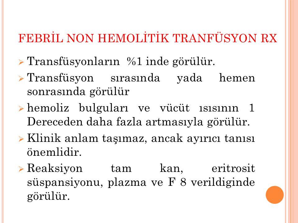FEBRİL NON HEMOLİTİK TRANFÜSYON RX  Transfüsyonların %1 inde görülür.  Transfüsyon sırasında yada hemen sonrasında görülür  hemoliz bulguları ve vü