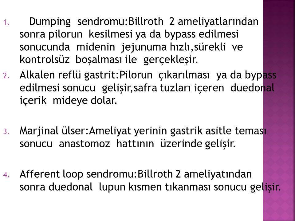 1. Dumping sendromu:Billroth 2 ameliyatlarından sonra pilorun kesilmesi ya da bypass edilmesi sonucunda midenin jejunuma hızlı,sürekli ve kontrolsüz b