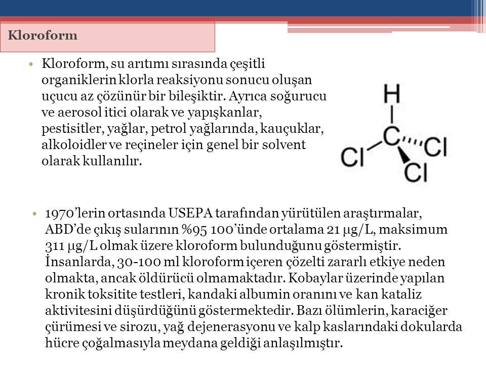 Kloroform Kloroform, su arıtımı sırasında çeşitli organiklerin klorla reaksiyonu sonucu oluşan uçucu az çözünür bir bileşiktir. Ayrıca soğurucu ve aer