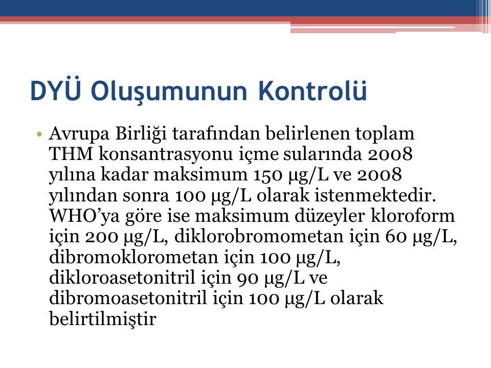 DYÜ Oluşumunun Kontrolü Avrupa Birliği tarafından belirlenen toplam THM konsantrasyonu içme sularında 2008 yılına kadar maksimum 150 μg/L ve 2008 yılı