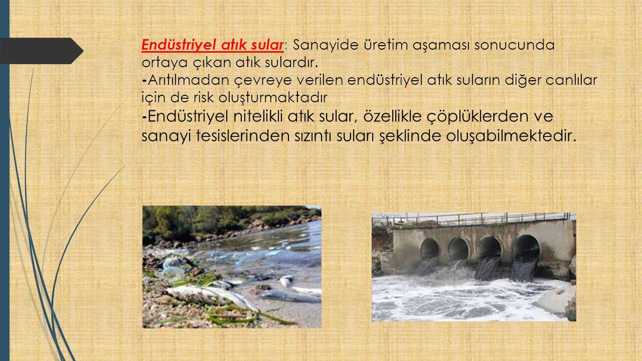 Endüstriyel atık sular : Sanayide üretim aşaması sonucunda ortaya çıkan atık sulardır.