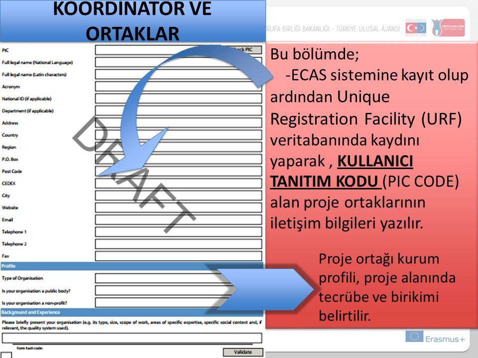 Bu bölümde; -ECAS sistemine kayıt olup ardından Unique Registration Facility (URF) veritabanında kaydını yaparak, KULLANICI TANITIM KODU (PIC CODE) alan proje ortaklarının iletişim bilgileri yazılır.