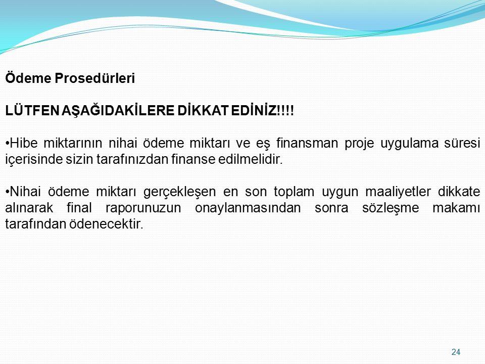 24 Ödeme Prosedürleri LÜTFEN AŞAĞIDAKİLERE DİKKAT EDİNİZ!!!.