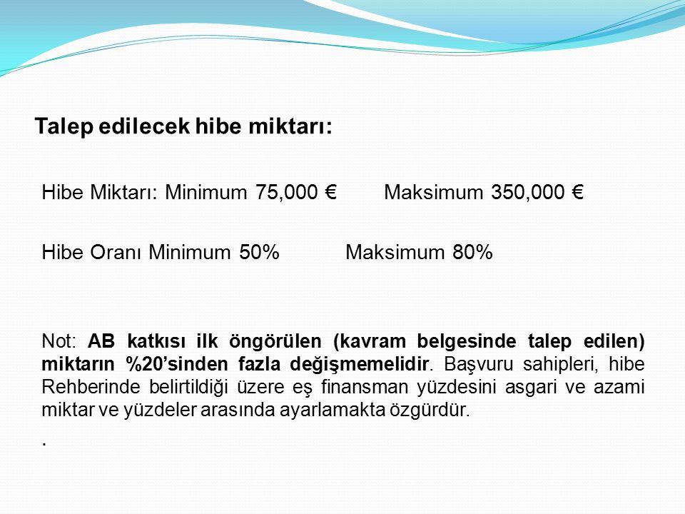 Talep edilecek hibe miktarı: Hibe Miktarı: Minimum 75,000 € Maksimum 350,000 € Hibe Oranı Minimum 50% Maksimum 80% Not: AB katkısı ilk öngörülen (kavram belgesinde talep edilen) miktarın %20'sinden fazla değişmemelidir.