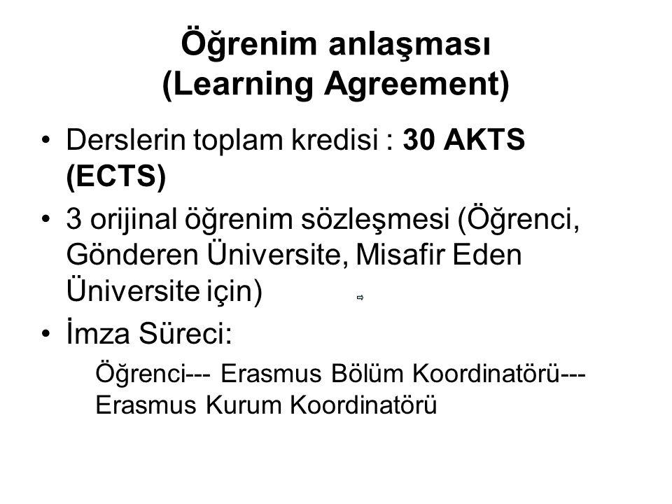 Öğrenim anlaşması (Learning Agreement) Derslerin toplam kredisi : 30 AKTS (ECTS) 3 orijinal öğrenim sözleşmesi (Öğrenci, Gönderen Üniversite, Misafir Eden Üniversite için) İmza Süreci: Öğrenci--- Erasmus Bölüm Koordinatörü--- Erasmus Kurum Koordinatörü