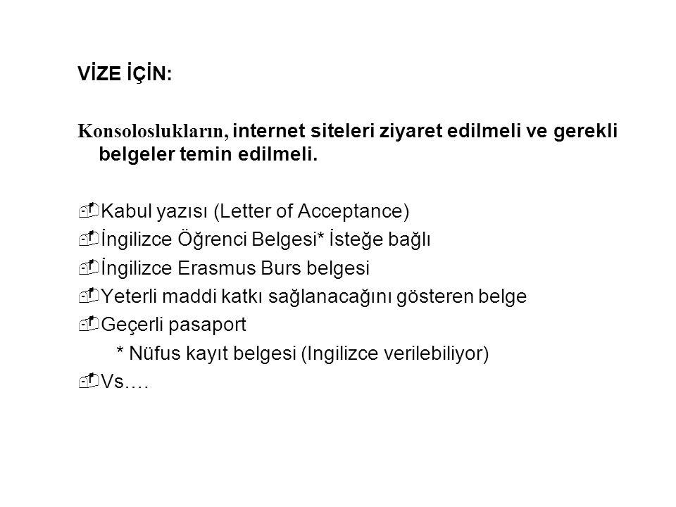 VİZE İÇİN: Konsoloslukların, internet siteleri ziyaret edilmeli ve gerekli belgeler temin edilmeli.
