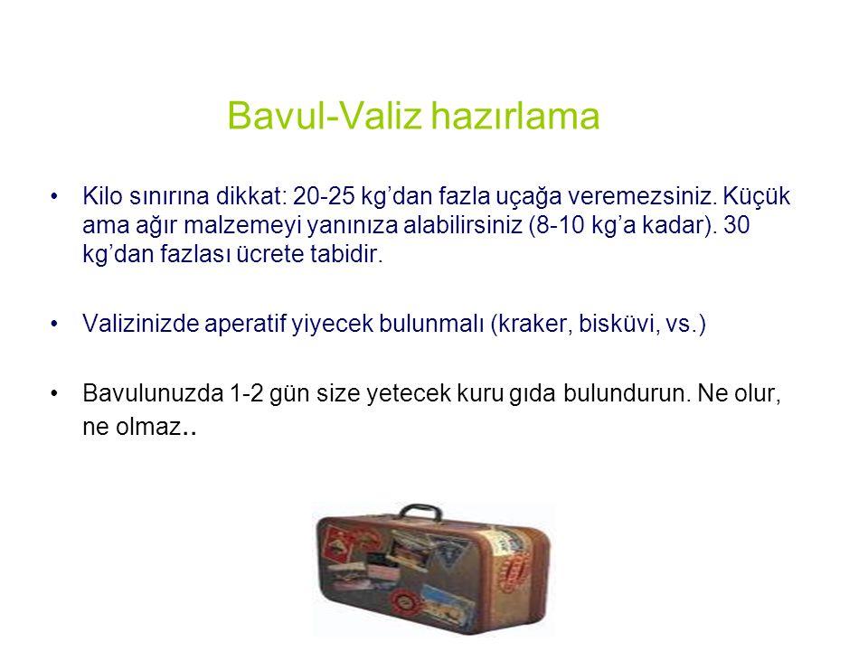Bavul-Valiz hazırlama Kilo sınırına dikkat: 20-25 kg'dan fazla uçağa veremezsiniz.
