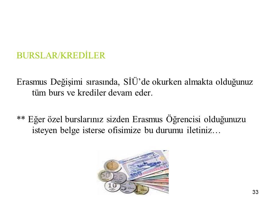 BURSLAR/KREDİLER Erasmus Değişimi sırasında, SİÜ'de okurken almakta olduğunuz tüm burs ve krediler devam eder.