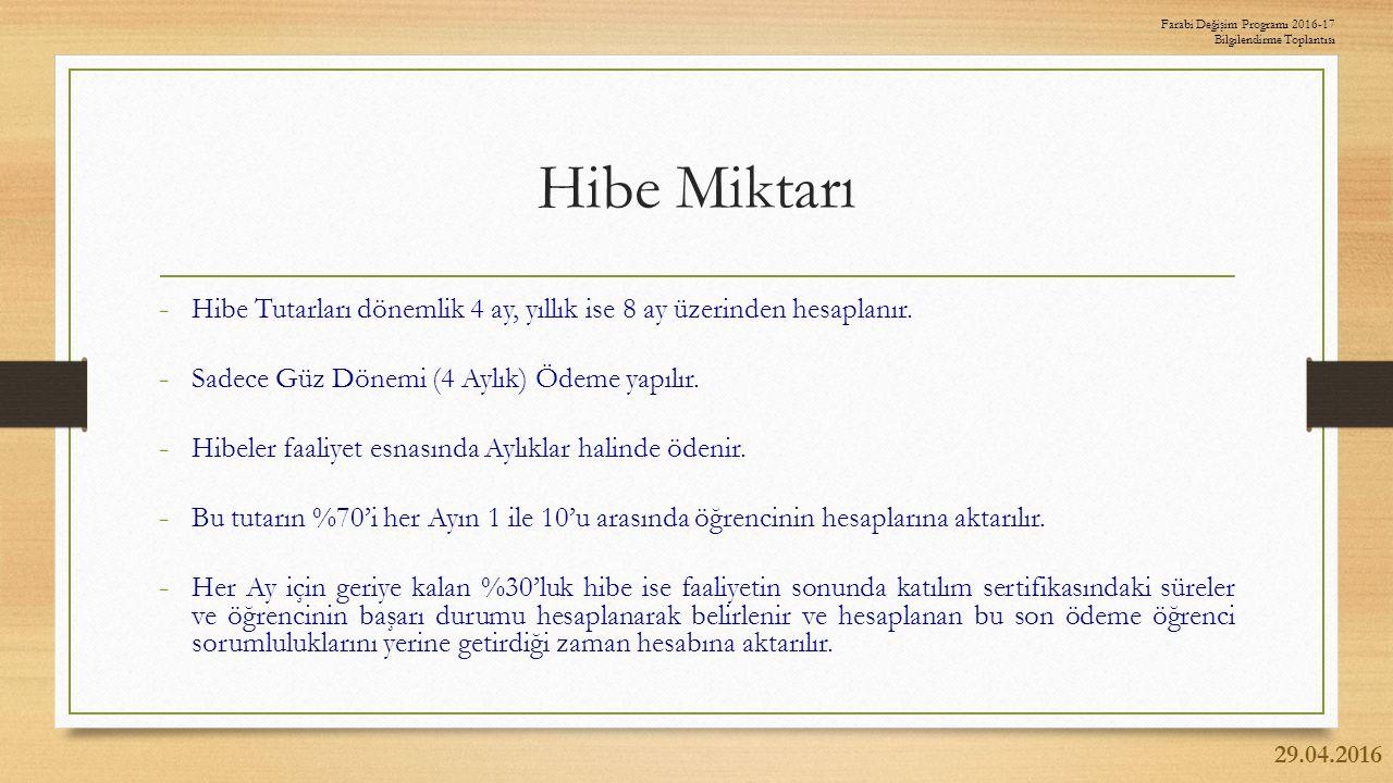 Hibe Miktarı - Hibe Tutarları dönemlik 4 ay, yıllık ise 8 ay üzerinden hesaplanır.