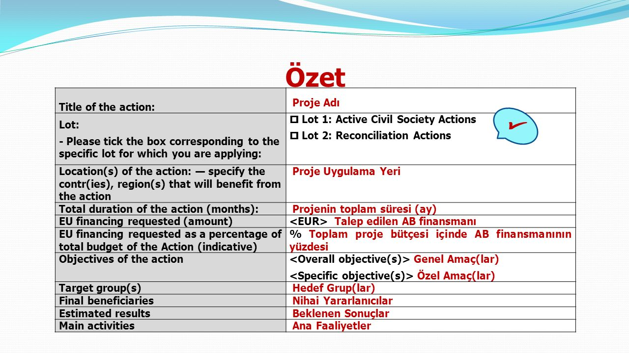Özet Title of the action: Proje Adı Lot: - Please tick the box corresponding to the specific lot for which you are applying:  Lot 1: Active Civil Society Actions  Lot 2: Reconciliation Actions Location(s) of the action: — specify the contr(ies), region(s) that will benefit from the action Proje Uygulama Yeri Total duration of the action (months): Projenin toplam süresi (ay) EU financing requested (amount) Talep edilen AB finansmanı EU financing requested as a percentage of total budget of the Action (indicative) % Toplam proje bütçesi içinde AB finansmanının yüzdesi Objectives of the action Genel Amaç(lar) Özel Amaç(lar) Target group(s) Hedef Grup(lar) Final beneficiaries Nihai Yararlanıcılar Estimated results Beklenen Sonuçlar Main activities Ana Faaliyetler