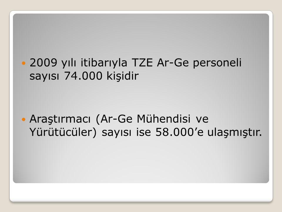 2009 yılı itibarıyla TZE Ar-Ge personeli sayısı 74.000 kişidir Araştırmacı (Ar-Ge Mühendisi ve Yürütücüler) sayısı ise 58.000'e ulaşmıştır.