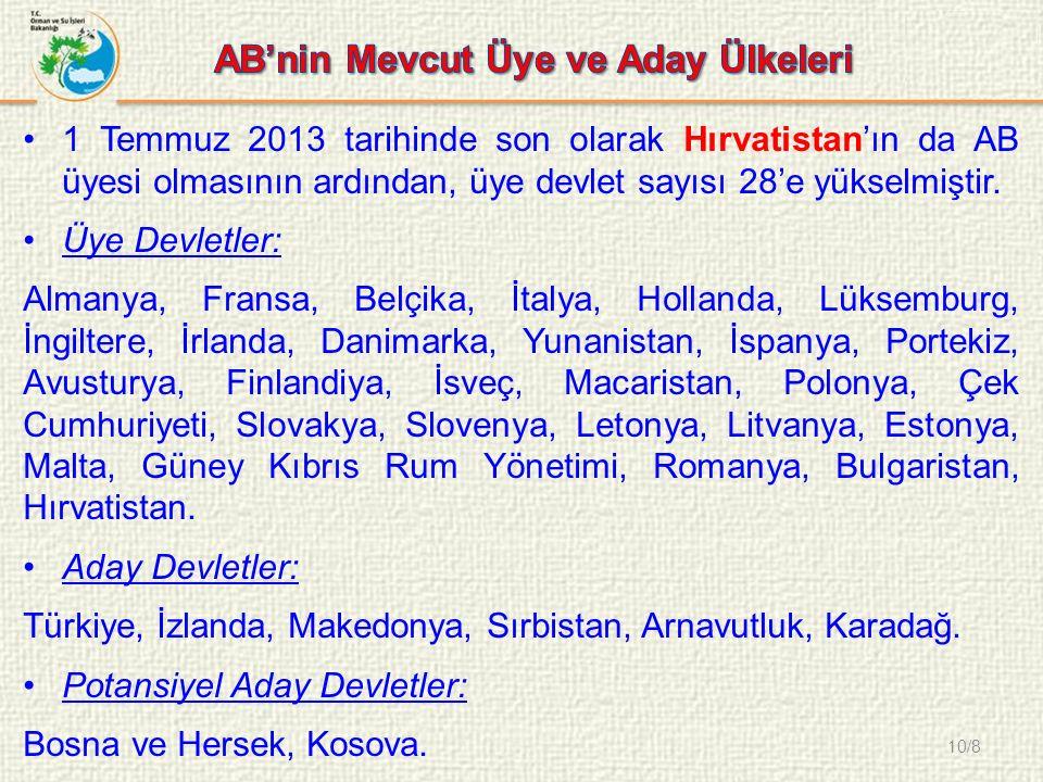 10/8 1 Temmuz 2013 tarihinde son olarak Hırvatistan'ın da AB üyesi olmasının ardından, üye devlet sayısı 28'e yükselmiştir.