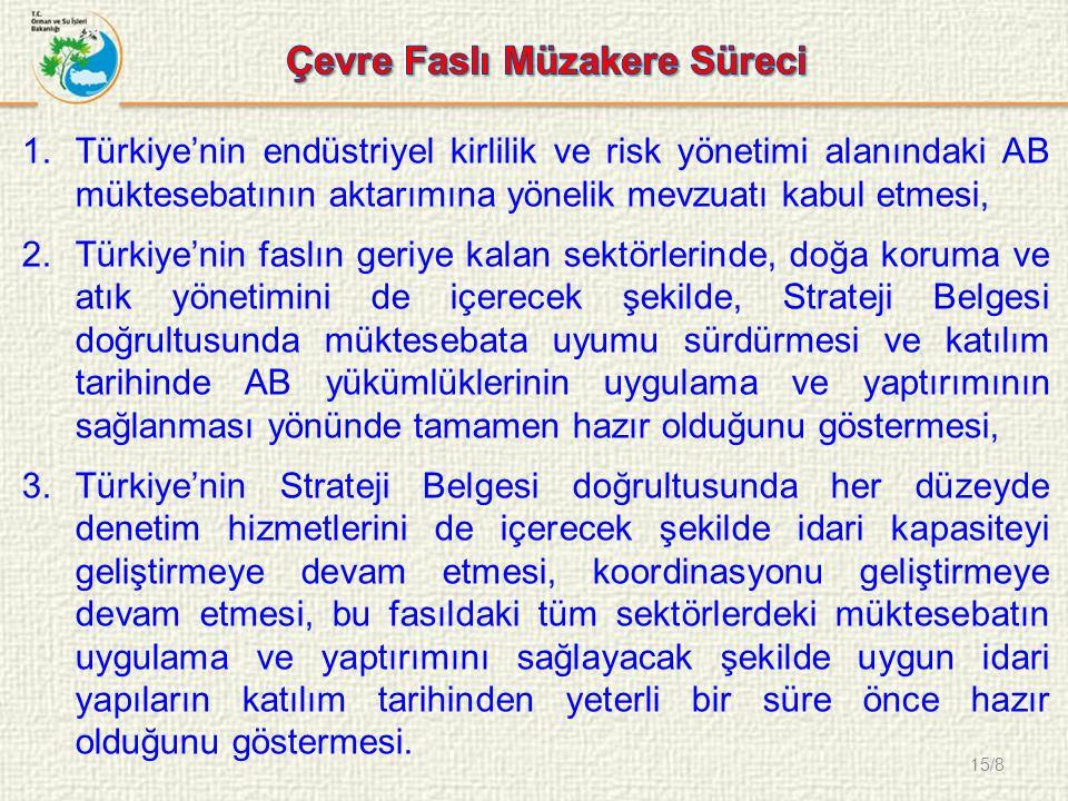 15/8 1.Türkiye'nin endüstriyel kirlilik ve risk yönetimi alanındaki AB müktesebatının aktarımına yönelik mevzuatı kabul etmesi, 2.Türkiye'nin faslın geriye kalan sektörlerinde, doğa koruma ve atık yönetimini de içerecek şekilde, Strateji Belgesi doğrultusunda müktesebata uyumu sürdürmesi ve katılım tarihinde AB yükümlüklerinin uygulama ve yaptırımının sağlanması yönünde tamamen hazır olduğunu göstermesi, 3.Türkiye'nin Strateji Belgesi doğrultusunda her düzeyde denetim hizmetlerini de içerecek şekilde idari kapasiteyi geliştirmeye devam etmesi, koordinasyonu geliştirmeye devam etmesi, bu fasıldaki tüm sektörlerdeki müktesebatın uygulama ve yaptırımını sağlayacak şekilde uygun idari yapıların katılım tarihinden yeterli bir süre önce hazır olduğunu göstermesi.