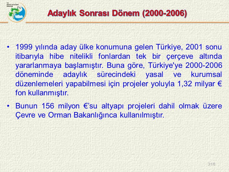 31/8 1999 yılında aday ülke konumuna gelen Türkiye, 2001 sonu itibarıyla hibe nitelikli fonlardan tek bir çerçeve altında yararlanmaya başlamıştır.