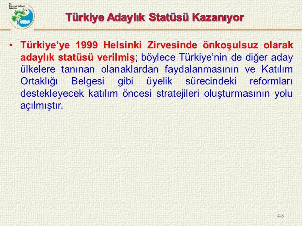 4/8 Türkiye'ye 1999 Helsinki Zirvesinde önkoşulsuz olarak adaylık statüsü verilmiş; böylece Türkiye'nin de diğer aday ülkelere tanınan olanaklardan faydalanmasının ve Katılım Ortaklığı Belgesi gibi üyelik sürecindeki reformları destekleyecek katılım öncesi stratejileri oluşturmasının yolu açılmıştır.
