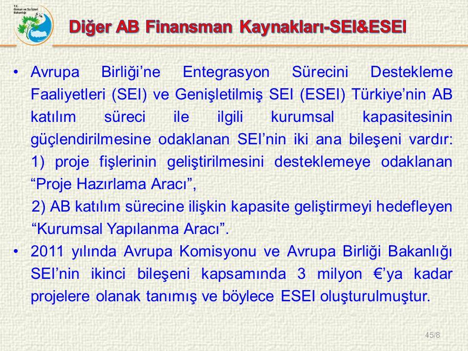 45/8 Avrupa Birliği'ne Entegrasyon Sürecini Destekleme Faaliyetleri (SEI) ve Genişletilmiş SEI (ESEI) Türkiye'nin AB katılım süreci ile ilgili kurumsal kapasitesinin güçlendirilmesine odaklanan SEI'nin iki ana bileşeni vardır: 1) proje fişlerinin geliştirilmesini desteklemeye odaklanan Proje Hazırlama Aracı , 2) AB katılım sürecine ilişkin kapasite geliştirmeyi hedefleyen Kurumsal Yapılanma Aracı .
