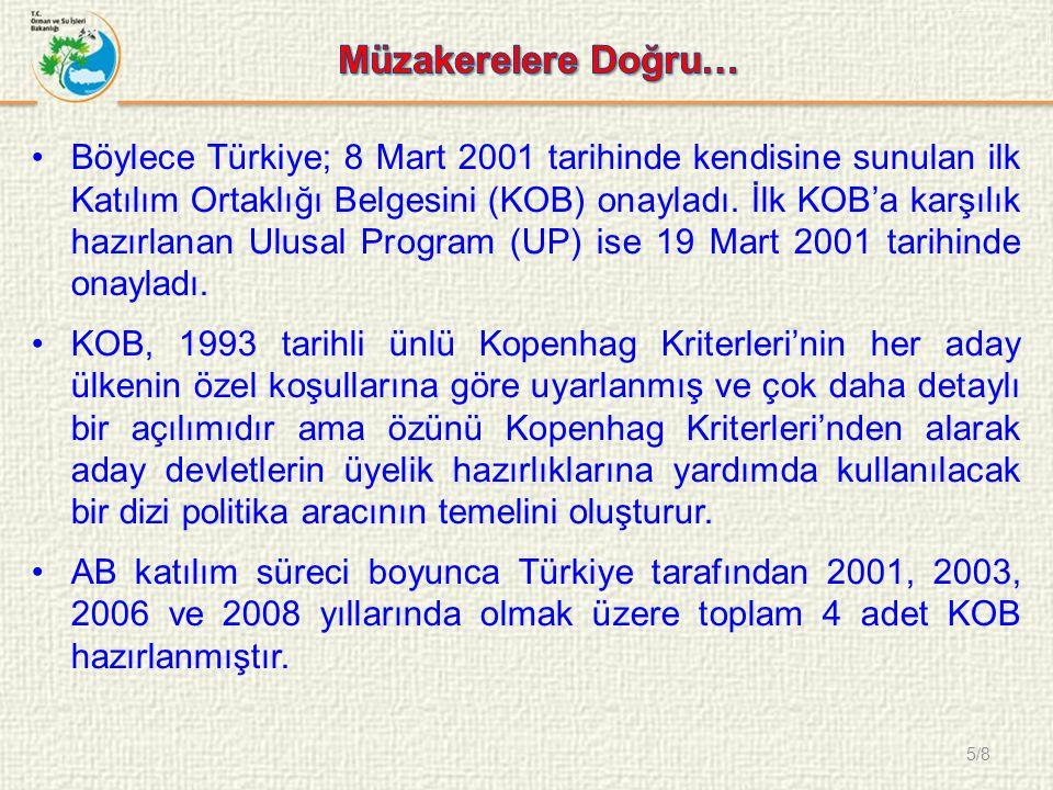 5/8 Böylece Türkiye; 8 Mart 2001 tarihinde kendisine sunulan ilk Katılım Ortaklığı Belgesini (KOB) onayladı.