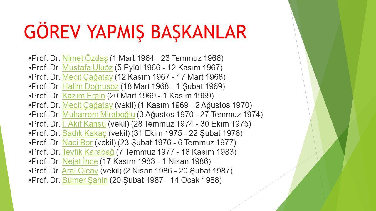 GÖREV YAPMIŞ BAŞKANLAR Prof. Dr. Nimet Özdaş (1 Mart 1964 - 23 Temmuz 1966)Nimet Özdaş Prof. Dr. Mustafa Uluöz (5 Eylül 1966 - 12 Kasım 1967)Mustafa U