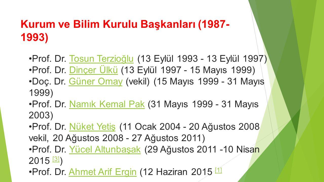 Kurum ve Bilim Kurulu Başkanları (1987- 1993) Prof. Dr. Tosun Terzioğlu (13 Eylül 1993 - 13 Eylül 1997)Tosun Terzioğlu Prof. Dr. Dinçer Ülkü (13 Eylül