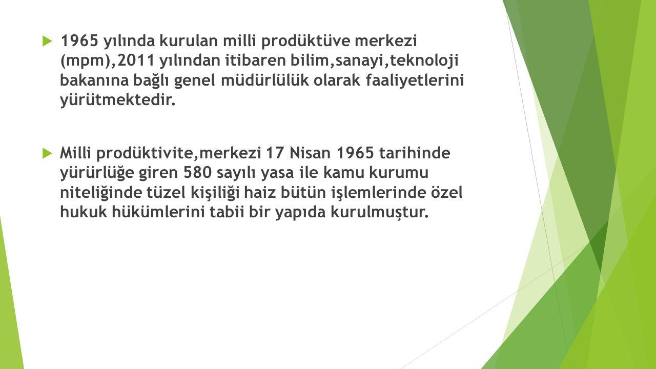  1965 yılında kurulan milli prodüktüve merkezi (mpm),2011 yılından itibaren bilim,sanayi,teknoloji bakanına bağlı genel müdürlülük olarak faaliyetler