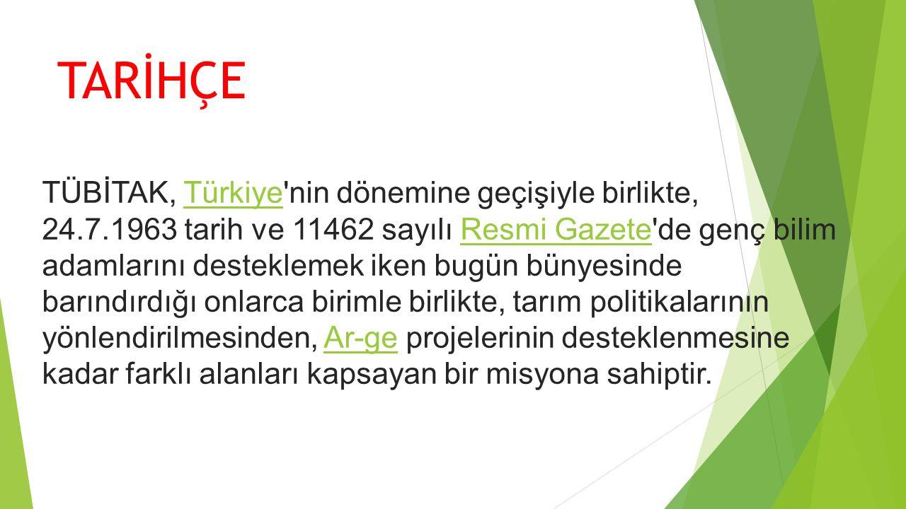 TARİHÇE TÜBİTAK, Türkiye'nin dönemine geçişiyle birlikte, 24.7.1963 tarih ve 11462 sayılı Resmi Gazete'de genç bilim adamlarını desteklemek iken bugün