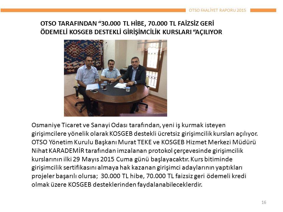 OTSO FAALİYET RAPORU 2015 16 OTSO TARAFINDAN 30.000 TL HİBE, 70.000 TL FAİZSİZ GERİ ÖDEMELİ KOSGEB DESTEKLİ GİRİŞİMCİLİK KURSLARI AÇILIYOR Osmaniye Ticaret ve Sanayi Odası tarafından, yeni iş kurmak isteyen girişimcilere yönelik olarak KOSGEB destekli ücretsiz girişimcilik kursları açılıyor.