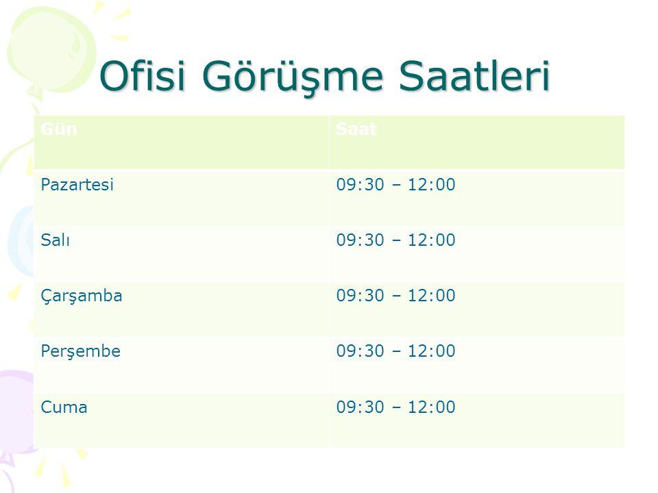 Ofisi Görüşme Saatleri GünSaat Pazartesi09:30 – 12:00 Salı09:30 – 12:00 Çarşamba09:30 – 12:00 Perşembe09:30 – 12:00 Cuma09:30 – 12:00
