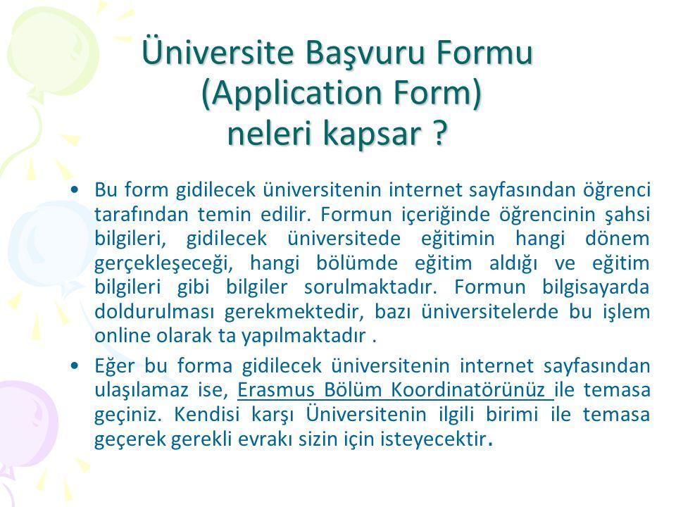 Üniversite Başvuru Formu (Application Form) neleri kapsar ? Bu form gidilecek üniversitenin internet sayfasından öğrenci tarafından temin edilir. Form