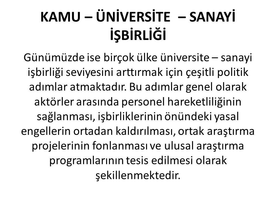 KAMU – ÜNİVERSİTE – SANAYİ İŞBİRLİĞİ Günümüzde ise birçok ülke üniversite – sanayi işbirliği seviyesini arttırmak için çeşitli politik adımlar atmakta