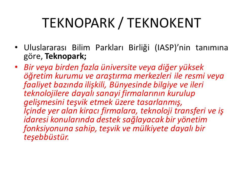 TEKNOPARK / TEKNOKENT Uluslararası Bilim Parkları Birliği (IASP)'nin tanımına göre, Teknopark; Bir veya birden fazla üniversite veya diğer yüksek öğre