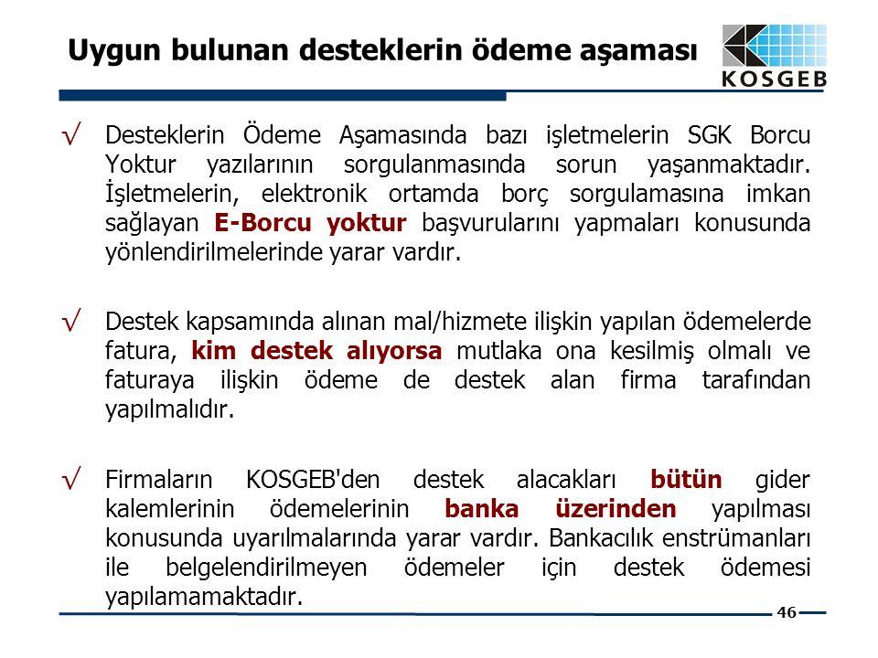 46 √ Desteklerin Ödeme Aşamasında bazı işletmelerin SGK Borcu Yoktur yazılarının sorgulanmasında sorun yaşanmaktadır.