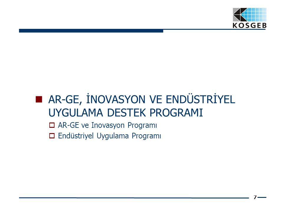 7 AR-GE, İNOVASYON VE ENDÜSTRİYEL UYGULAMA DESTEK PROGRAMI  AR-GE ve Inovasyon Programı  Endüstriyel Uygulama Programı