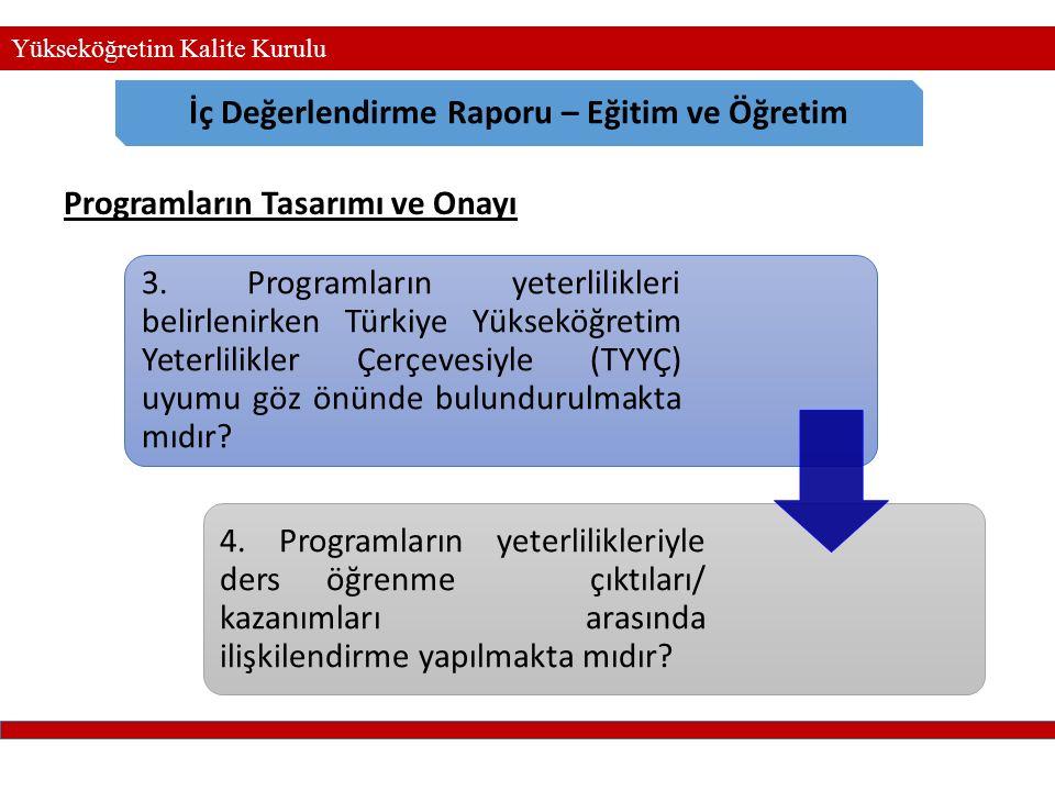 Yükseköğretim Kalite Kurulu İç Değerlendirme Raporu – Eğitim ve Öğretim 3. Programların yeterlilikleri belirlenirken Türkiye Yükseköğretim Yeterlilikl