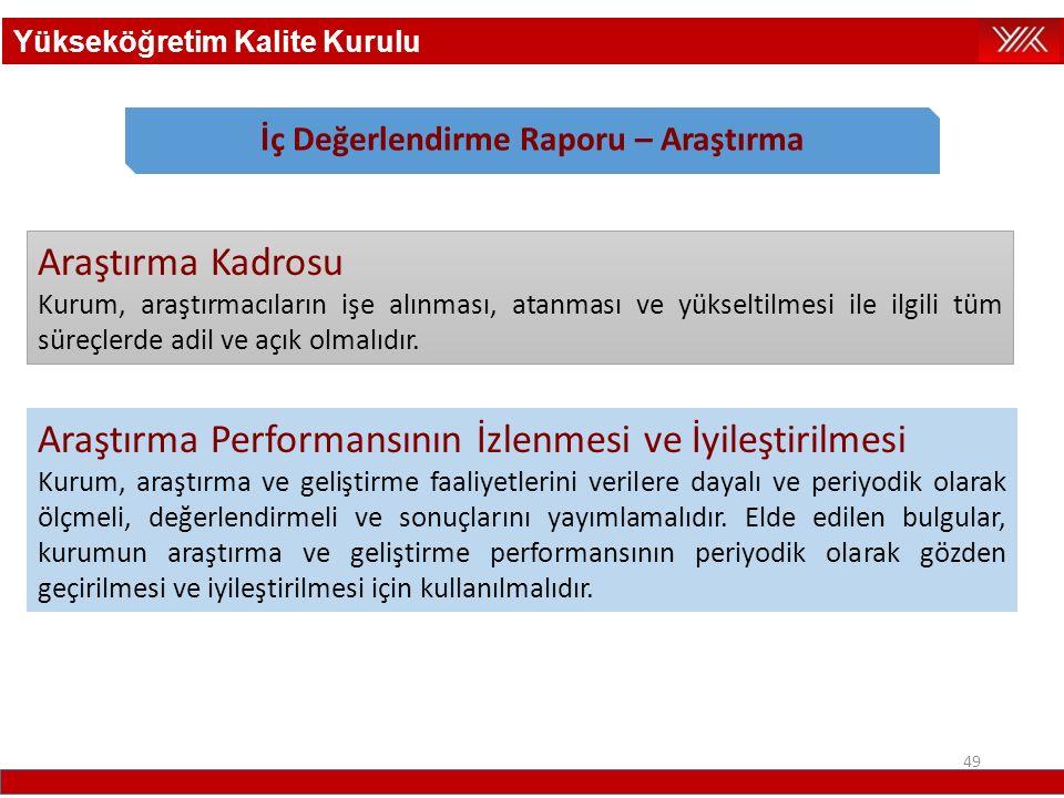 49 Araştırma Kadrosu Kurum, araştırmacıların işe alınması, atanması ve yükseltilmesi ile ilgili tüm süreçlerde adil ve açık olmalıdır. Araştırma Perfo