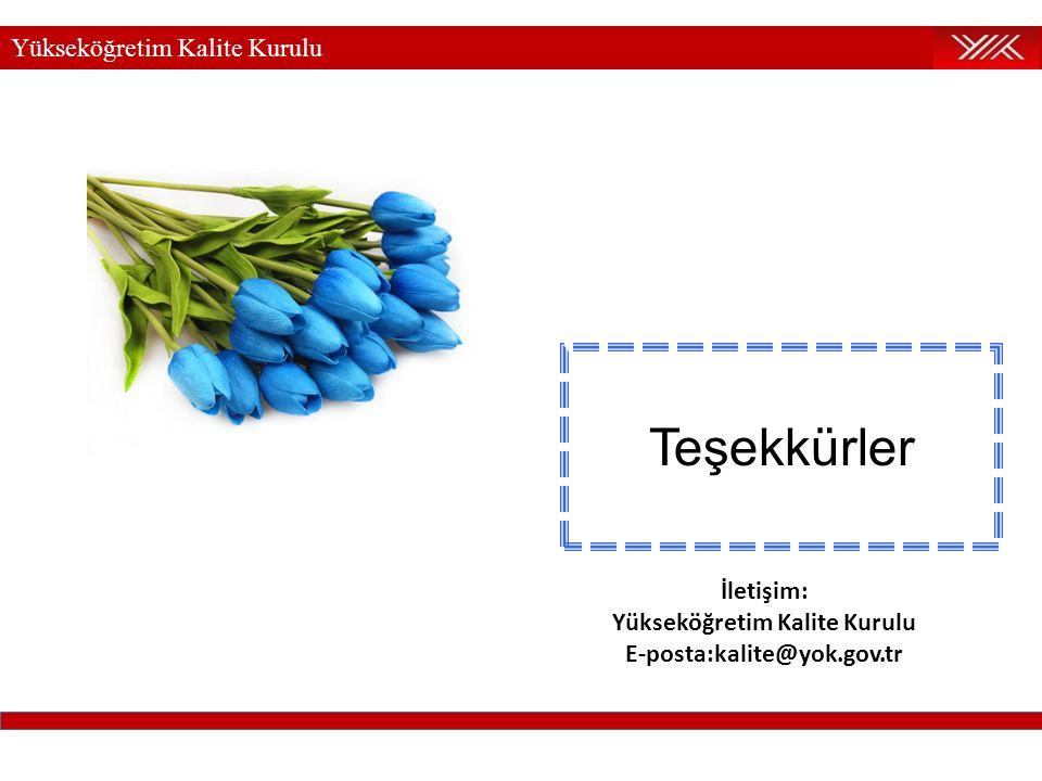 Yükseköğretim Kalite Kurulu Teşekkürler İletişim: Yükseköğretim Kalite Kurulu E-posta:kalite@yok.gov.tr