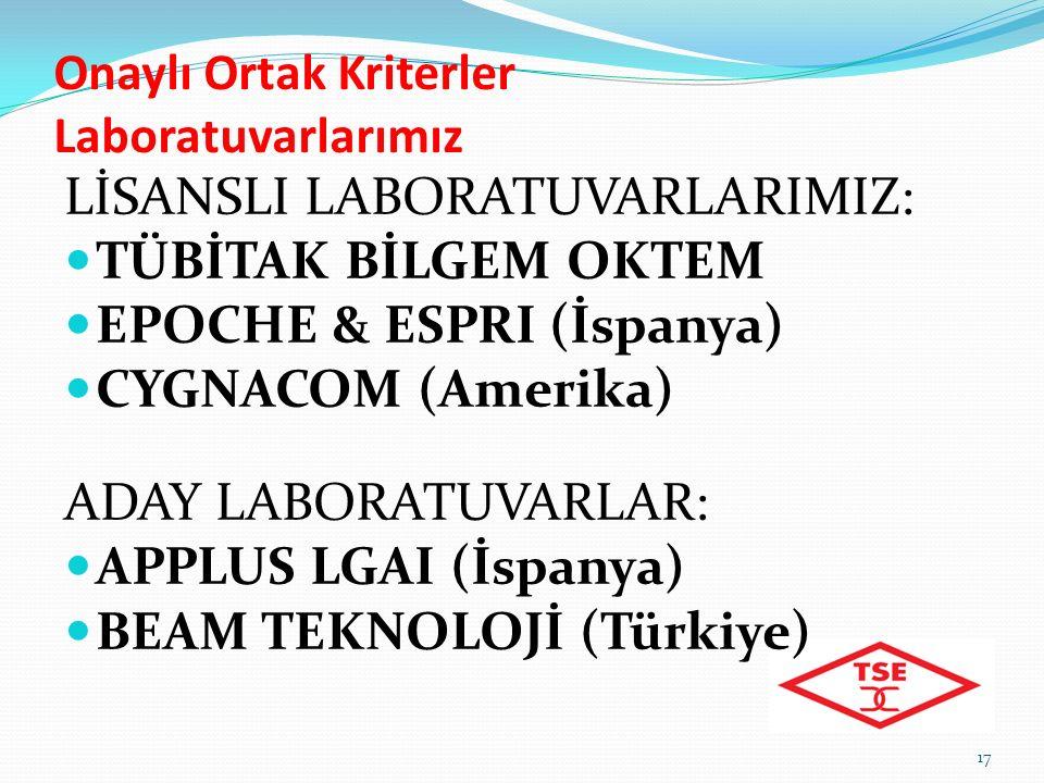Onaylı Ortak Kriterler Laboratuvarlarımız 17 LİSANSLI LABORATUVARLARIMIZ: TÜBİTAK BİLGEM OKTEM EPOCHE & ESPRI (İspanya) CYGNACOM (Amerika) ADAY LABORATUVARLAR: APPLUS LGAI (İspanya) BEAM TEKNOLOJİ (Türkiye)