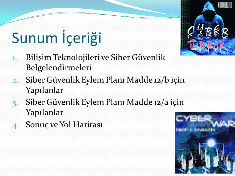 Sunum İçeriği 1. Bilişim Teknolojileri ve Siber Güvenlik Belgelendirmeleri 2.