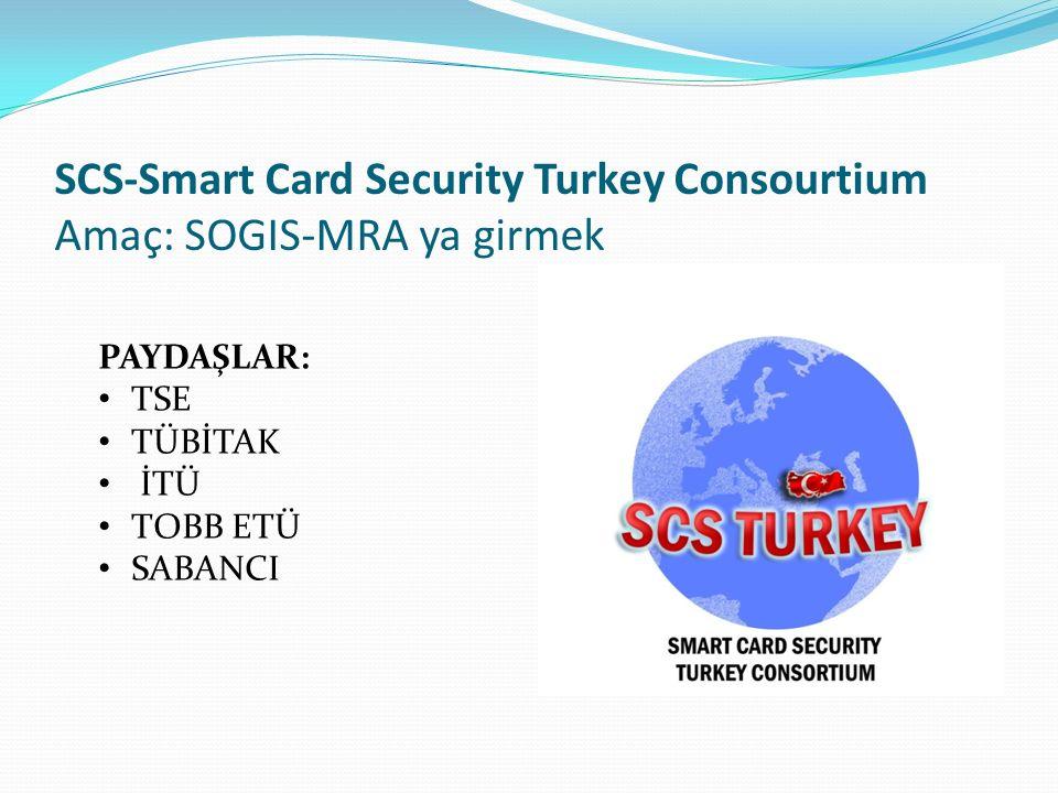 SCS-Smart Card Security Turkey Consourtium Amaç: SOGIS-MRA ya girmek PAYDAŞLAR: TSE TÜBİTAK İTÜ TOBB ETÜ SABANCI