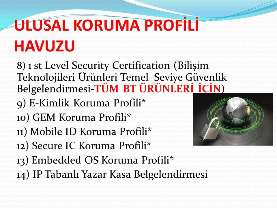 ULUSAL KORUMA PROFİLİ HAVUZU 8) 1 st Level Security Certification (Bilişim Teknolojileri Ürünleri Temel Seviye Güvenlik Belgelendirmesi-TÜM BT ÜRÜNLERİ İÇİN) 9) E-Kimlik Koruma Profili* 10) GEM Koruma Profili* 11) Mobile ID Koruma Profili* 12) Secure IC Koruma Profili* 13) Embedded OS Koruma Profili* 14) IP Tabanlı Yazar Kasa Belgelendirmesi