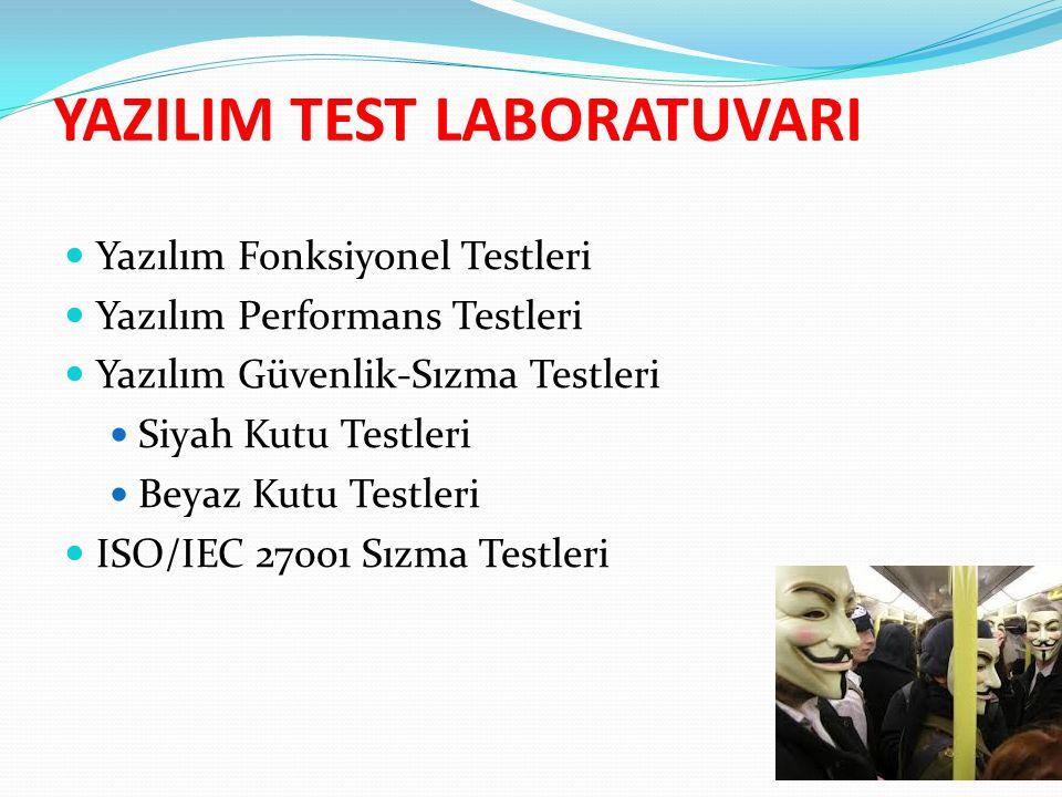 YAZILIM TEST LABORATUVARI Yazılım Fonksiyonel Testleri Yazılım Performans Testleri Yazılım Güvenlik-Sızma Testleri Siyah Kutu Testleri Beyaz Kutu Testleri ISO/IEC 27001 Sızma Testleri