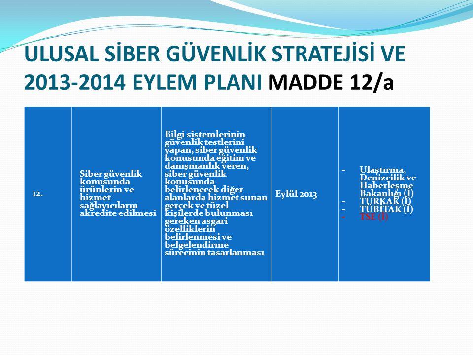 ULUSAL SİBER GÜVENLİK STRATEJİSİ VE 2013-2014 EYLEM PLANI MADDE 12/a 12.