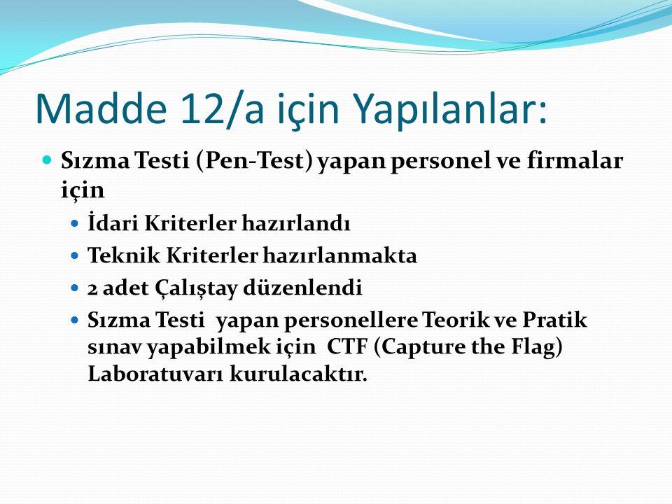 Madde 12/a için Yapılanlar: Sızma Testi (Pen-Test) yapan personel ve firmalar için İdari Kriterler hazırlandı Teknik Kriterler hazırlanmakta 2 adet Çalıştay düzenlendi Sızma Testi yapan personellere Teorik ve Pratik sınav yapabilmek için CTF (Capture the Flag) Laboratuvarı kurulacaktır.