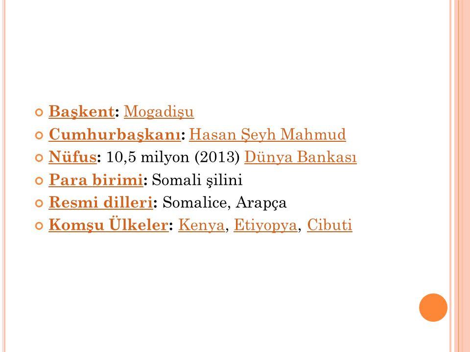BaşkentBaşkent: Mogadişu Mogadişu CumhurbaşkanıCumhurbaşkanı: Hasan Şeyh Mahmud Hasan Şeyh Mahmud NüfusNüfus: 10,5 milyon (2013) Dünya BankasıDünya Ba