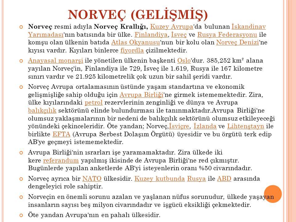 NORVEÇ (GELİŞMİŞ) Norveç resmi adıyla Norveç Krallığı, Kuzey Avrupa'da bulunan İskandinav Yarımadası'nın batısında bir ülke. Finlandiya, İsveç ve Rusy