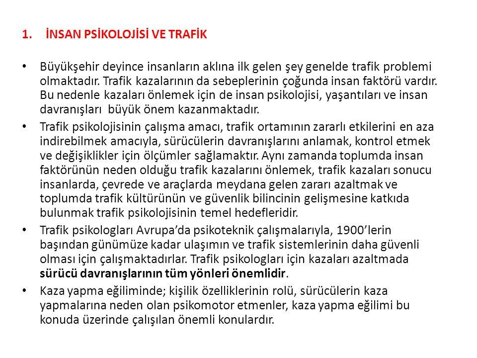 1.İNSAN PSİKOLOJİSİ VE TRAFİK 1.2.Ölçme Değerlendirme Çalışması 3.