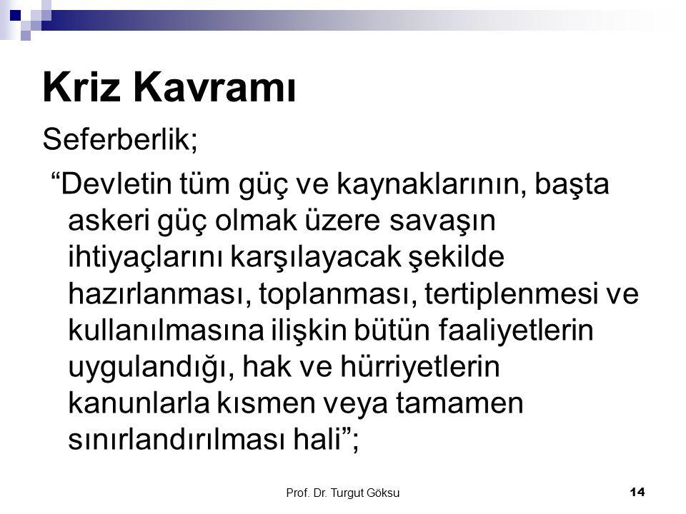 """Prof. Dr. Turgut Göksu 14 Kriz Kavramı Seferberlik; """"Devletin tüm güç ve kaynaklarının, başta askeri güç olmak üzere savaşın ihtiyaçlarını karşılayaca"""