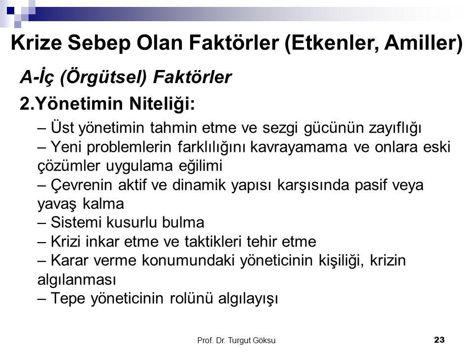 Prof. Dr. Turgut Göksu 23 A-İç (Örgütsel) Faktörler 2.Yönetimin Niteliği: – Üst yönetimin tahmin etme ve sezgi gücünün zayıflığı – Yeni problemlerin f