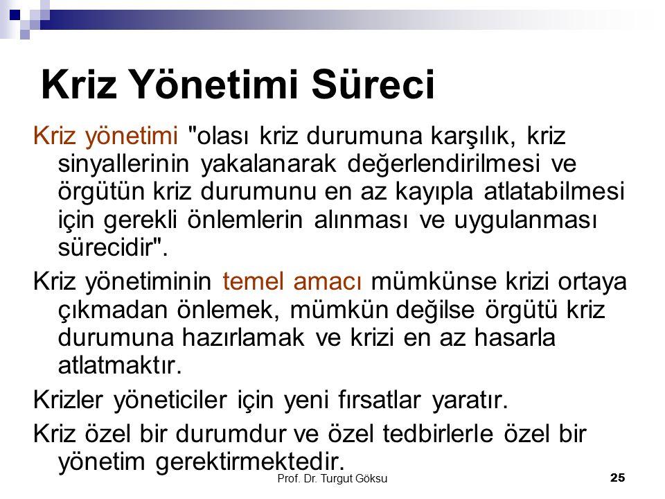 Prof. Dr. Turgut Göksu 25 Kriz Yönetimi Süreci Kriz yönetimi